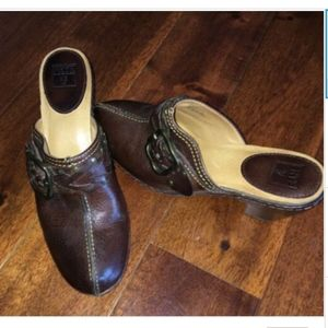 Frye Candice Woven Clogs Size 7.5 M Brown Leather